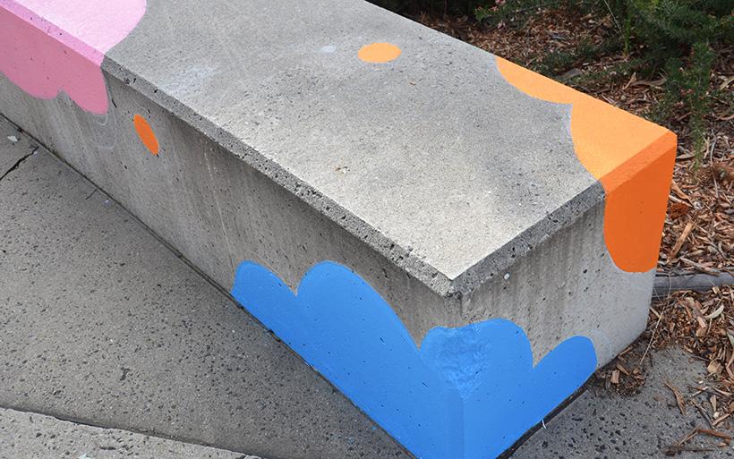 concrete seat with street art