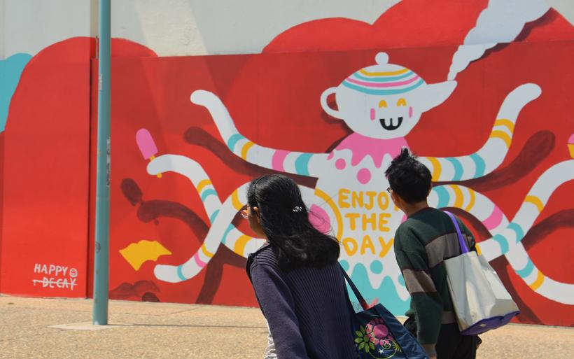 looking at mural