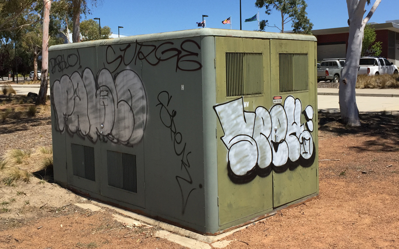 vandalised electricity box in canberra